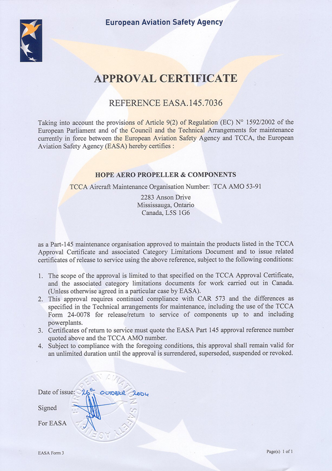 European Aviation Safety certificate for hope aero