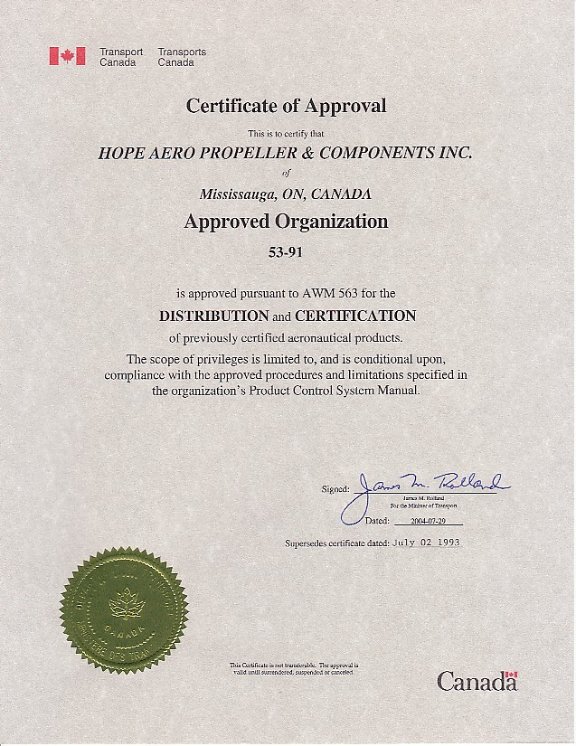 Transport Canada certificate for hope aero