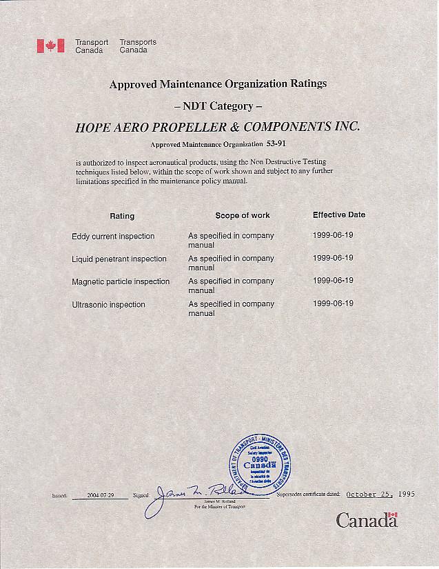 Transport Canada certificate for hope aero