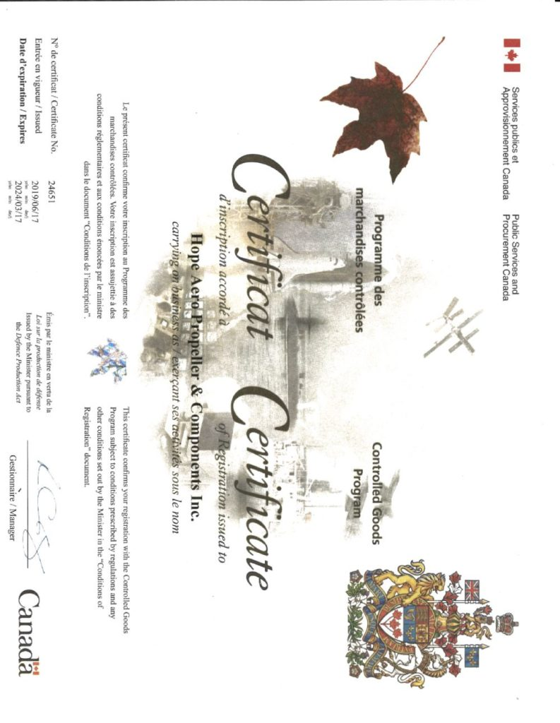 controlled goods certificate for hope aero